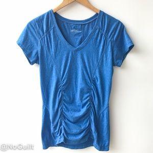 Zella | Large Blue V-neck Ruched Workout Top